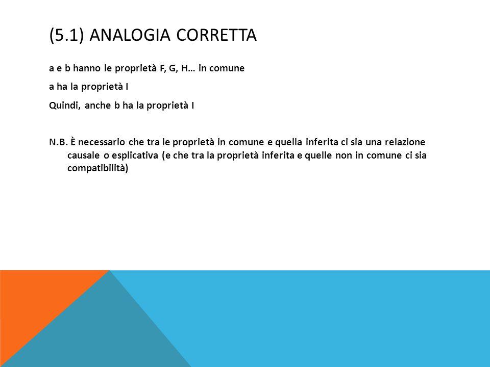 (5.1) Analogia corretta a e b hanno le proprietà F, G, H… in comune