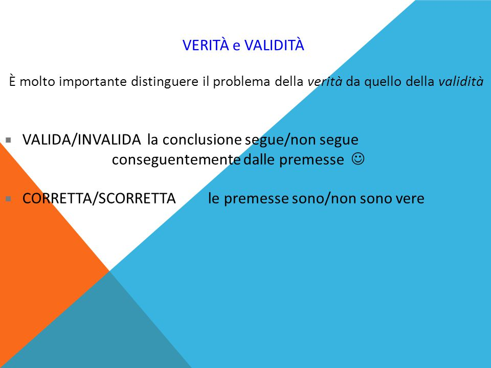 CORRETTA/SCORRETTA le premesse sono/non sono vere