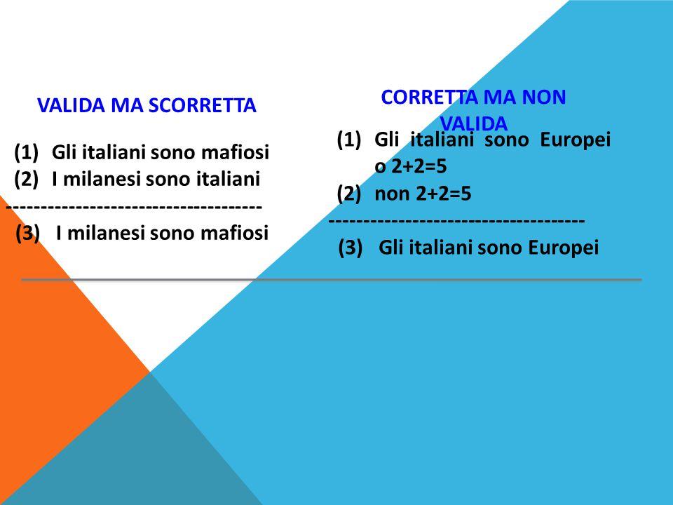 CORRETTA MA NON VALIDA VALIDA MA SCORRETTA. Gli italiani sono Europei o 2+2=5. non 2+2=5. -------------------------------------