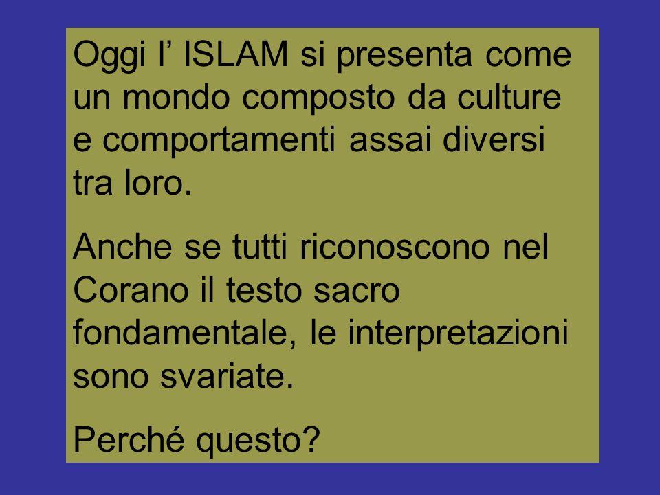 Oggi l' ISLAM si presenta come un mondo composto da culture e comportamenti assai diversi tra loro.