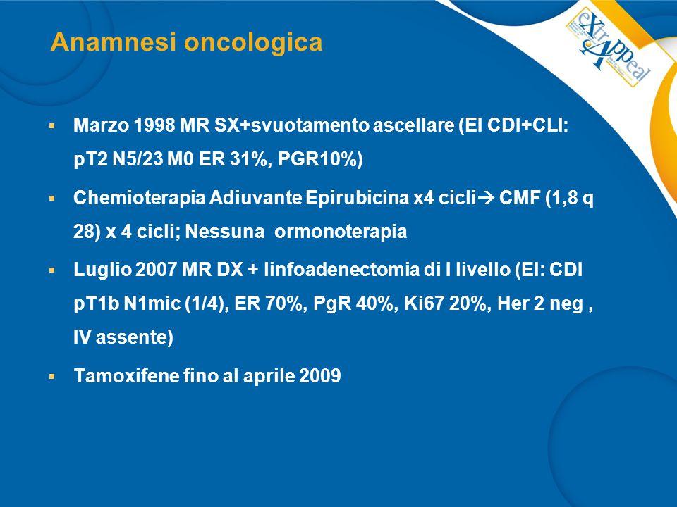 Anamnesi oncologica Marzo 1998 MR SX+svuotamento ascellare (EI CDI+CLI: pT2 N5/23 M0 ER 31%, PGR10%)