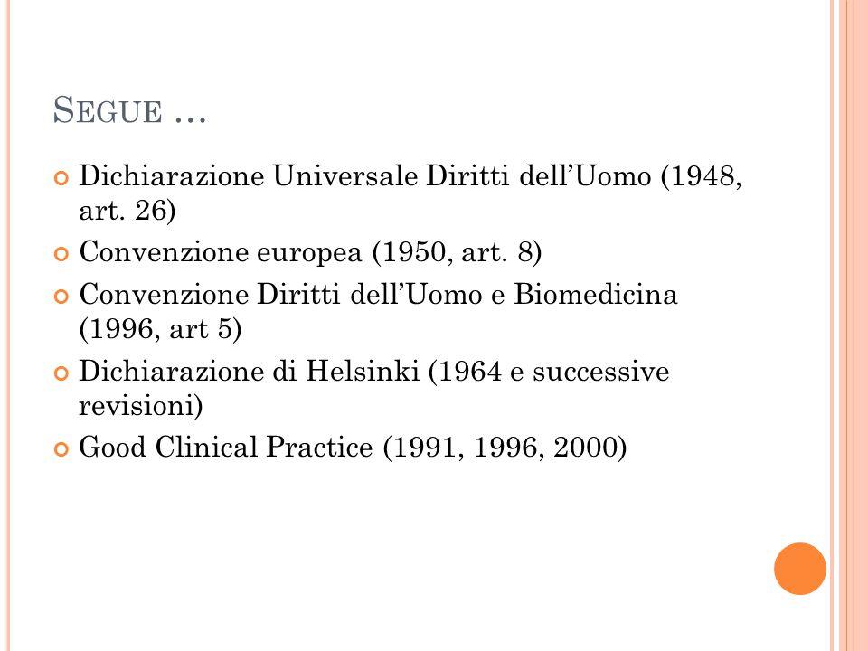 Segue … Dichiarazione Universale Diritti dell'Uomo (1948, art. 26)