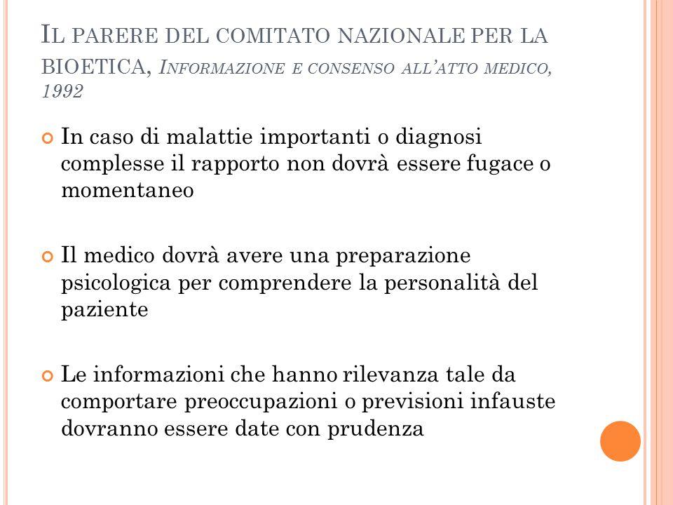Il parere del comitato nazionale per la bioetica, Informazione e consenso all'atto medico, 1992