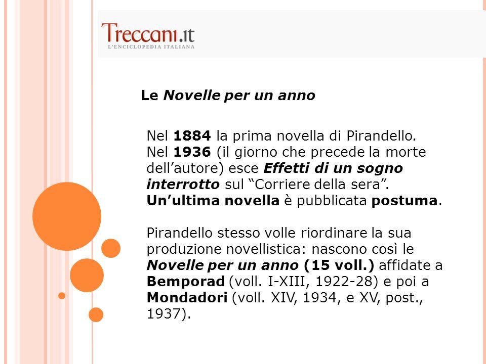 Le Novelle per un anno Nel 1884 la prima novella di Pirandello.
