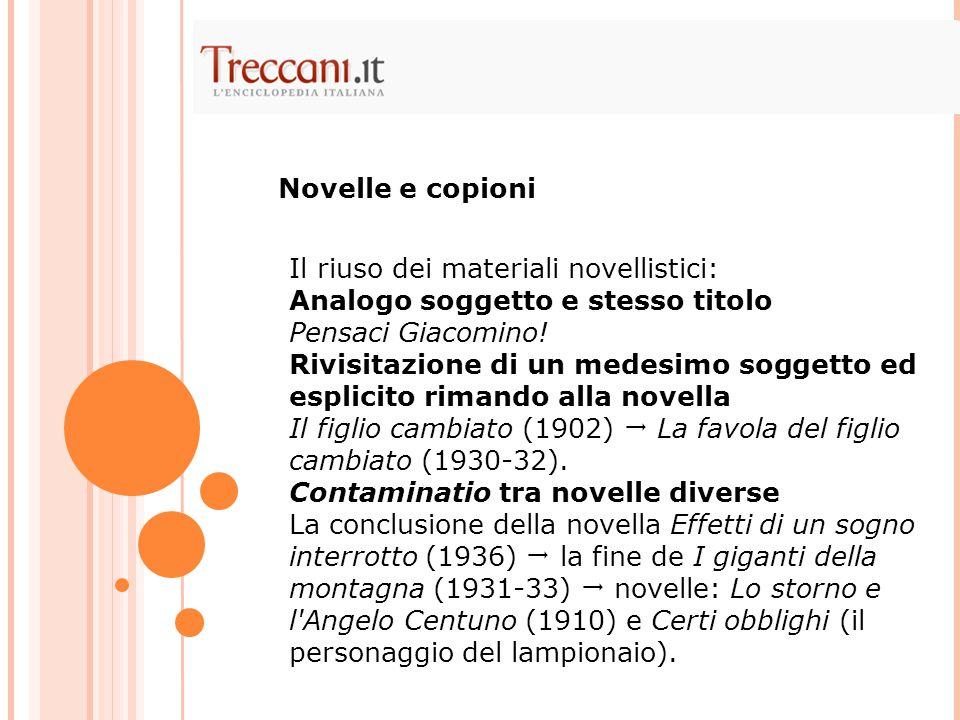 Novelle e copioni Il riuso dei materiali novellistici: Analogo soggetto e stesso titolo Pensaci Giacomino!
