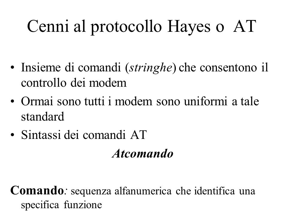 Cenni al protocollo Hayes o AT