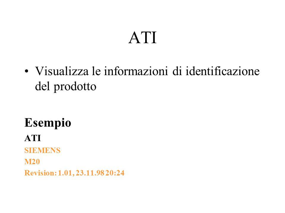 ATI Visualizza le informazioni di identificazione del prodotto Esempio