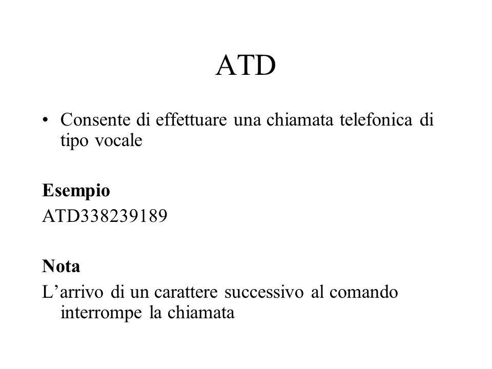 ATD Consente di effettuare una chiamata telefonica di tipo vocale