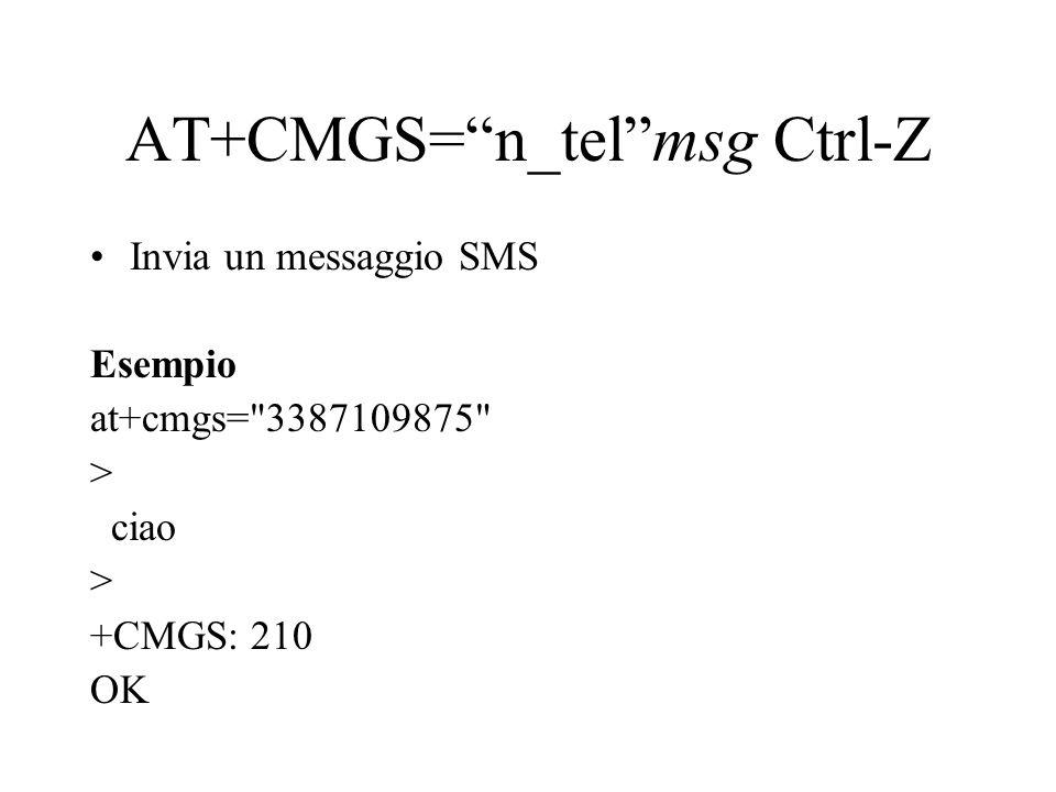 AT+CMGS= n_tel msg Ctrl-Z