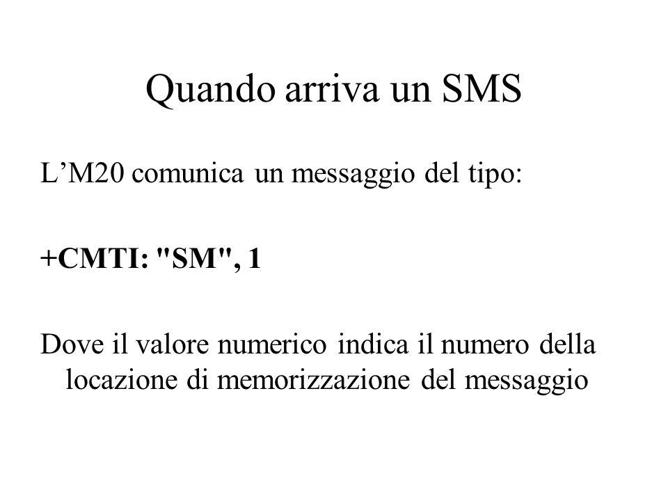 Quando arriva un SMS L'M20 comunica un messaggio del tipo: