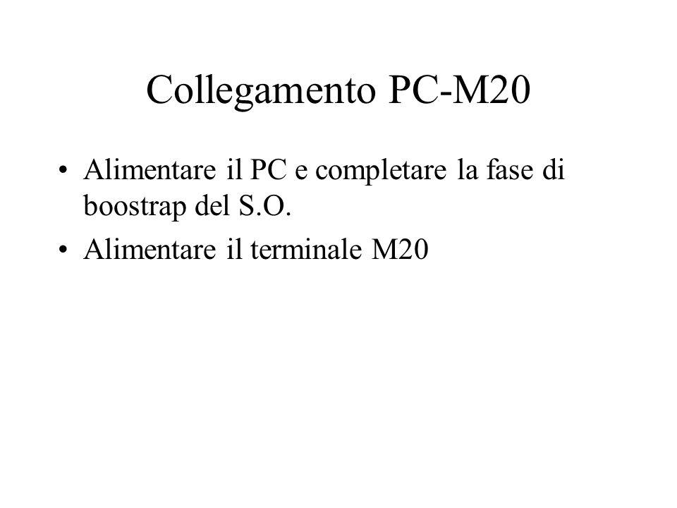 Collegamento PC-M20 Alimentare il PC e completare la fase di boostrap del S.O.
