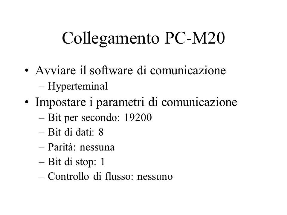 Collegamento PC-M20 Avviare il software di comunicazione