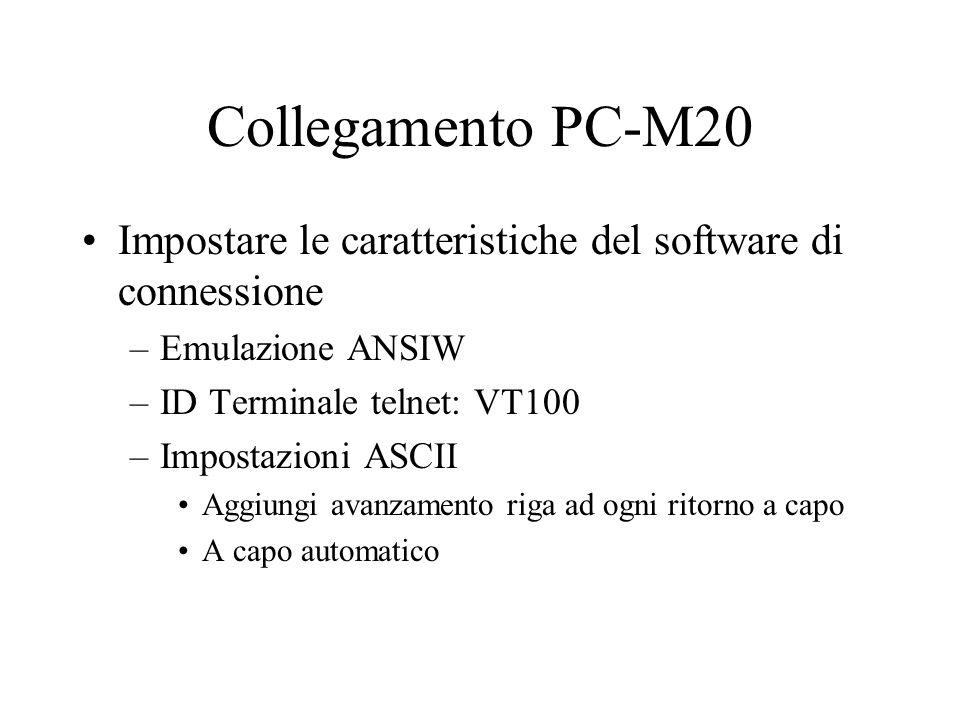 Collegamento PC-M20 Impostare le caratteristiche del software di connessione. Emulazione ANSIW. ID Terminale telnet: VT100.