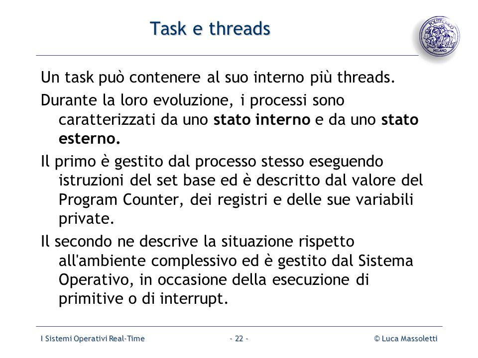Task e threads Un task può contenere al suo interno più threads.