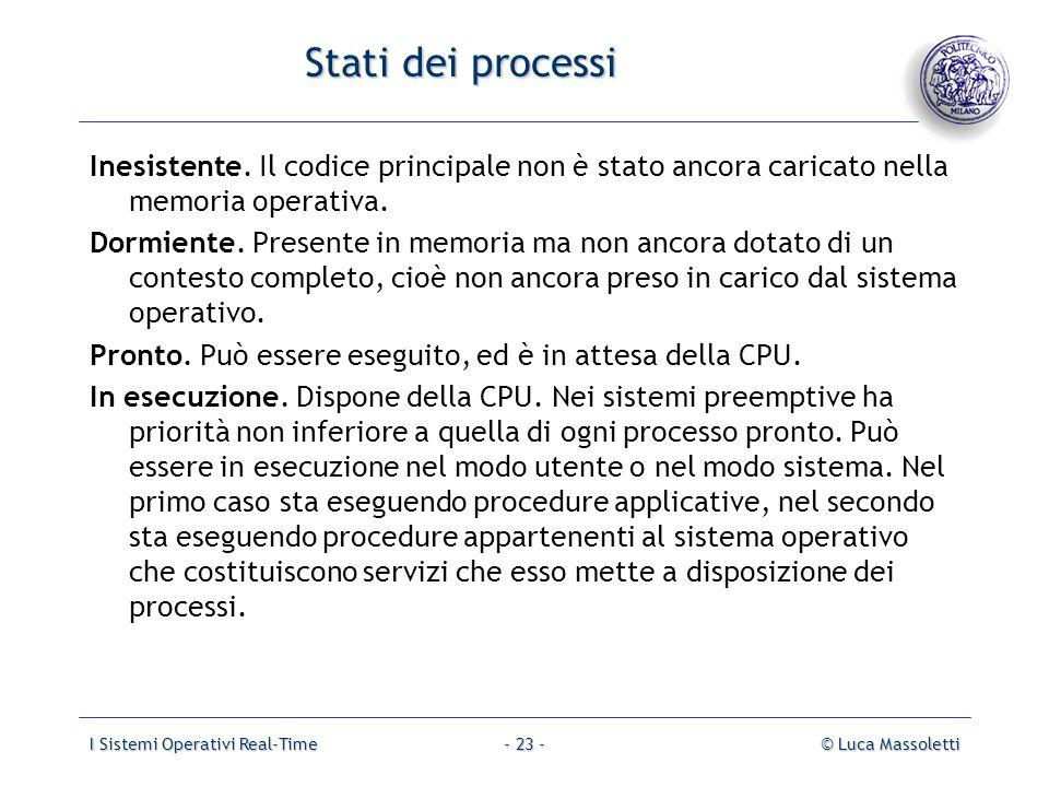 Stati dei processi Inesistente. Il codice principale non è stato ancora caricato nella memoria operativa.