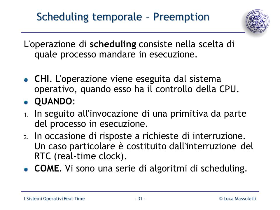 Scheduling temporale – Preemption