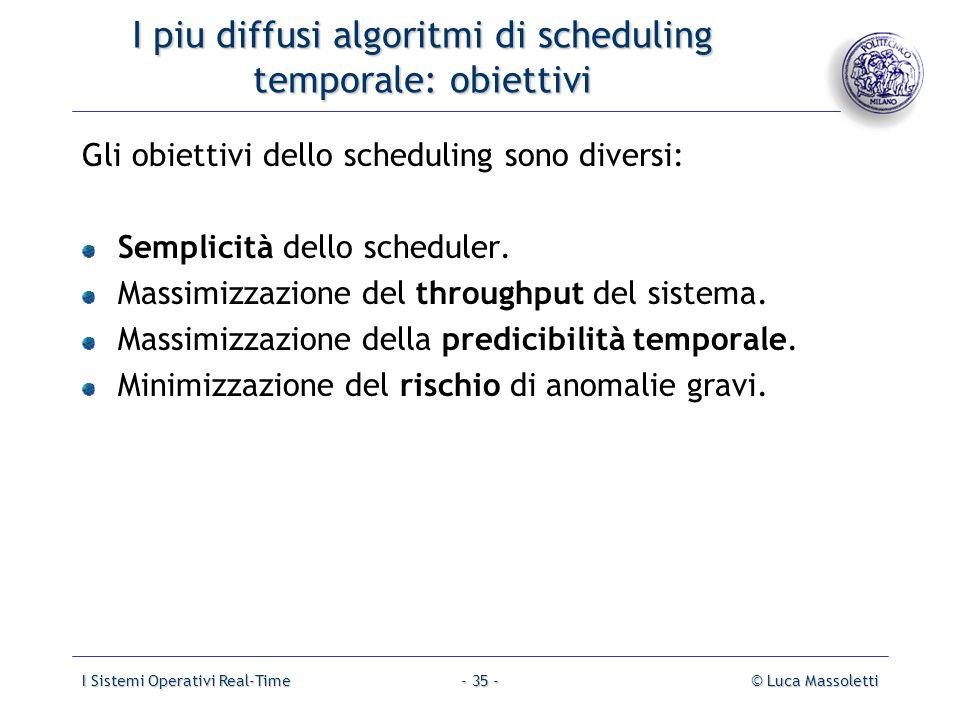 I piu diffusi algoritmi di scheduling temporale: obiettivi