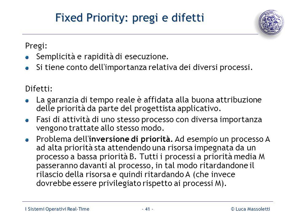 Fixed Priority: pregi e difetti