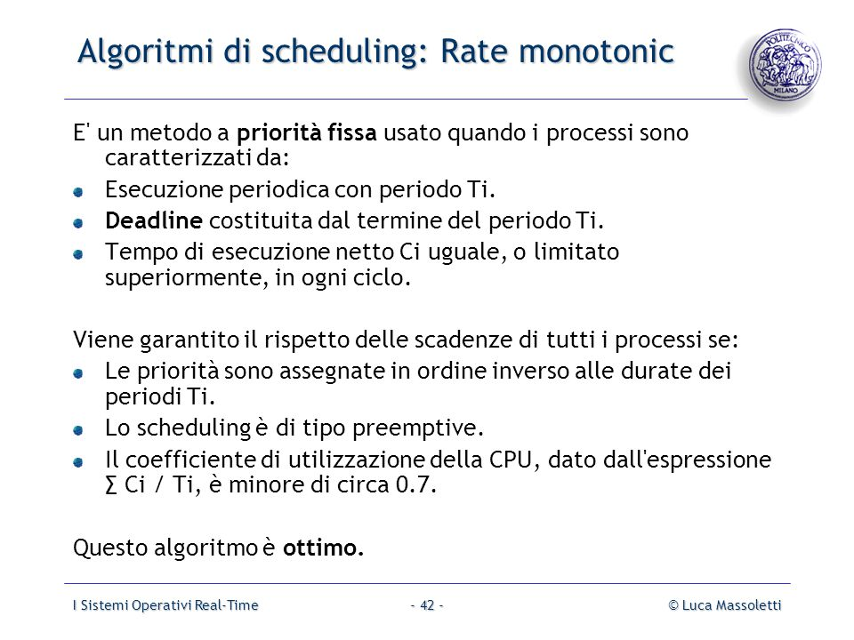 Algoritmi di scheduling: Rate monotonic