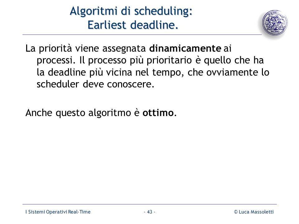 Algoritmi di scheduling: Earliest deadline.