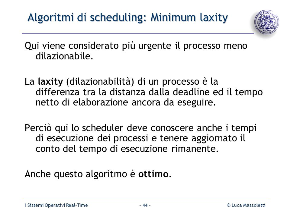 Algoritmi di scheduling: Minimum laxity