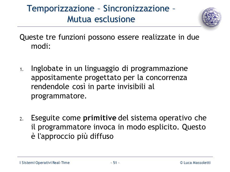 Temporizzazione – Sincronizzazione – Mutua esclusione