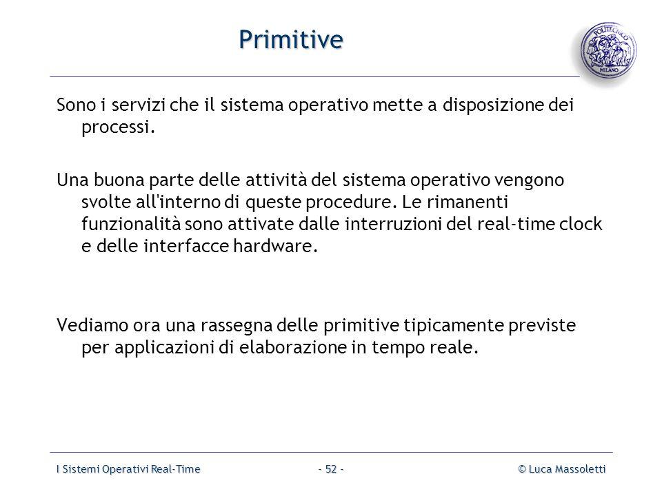 Primitive Sono i servizi che il sistema operativo mette a disposizione dei processi.