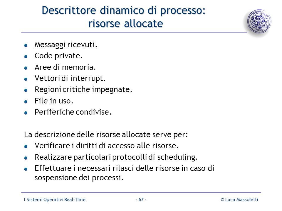 Descrittore dinamico di processo: risorse allocate