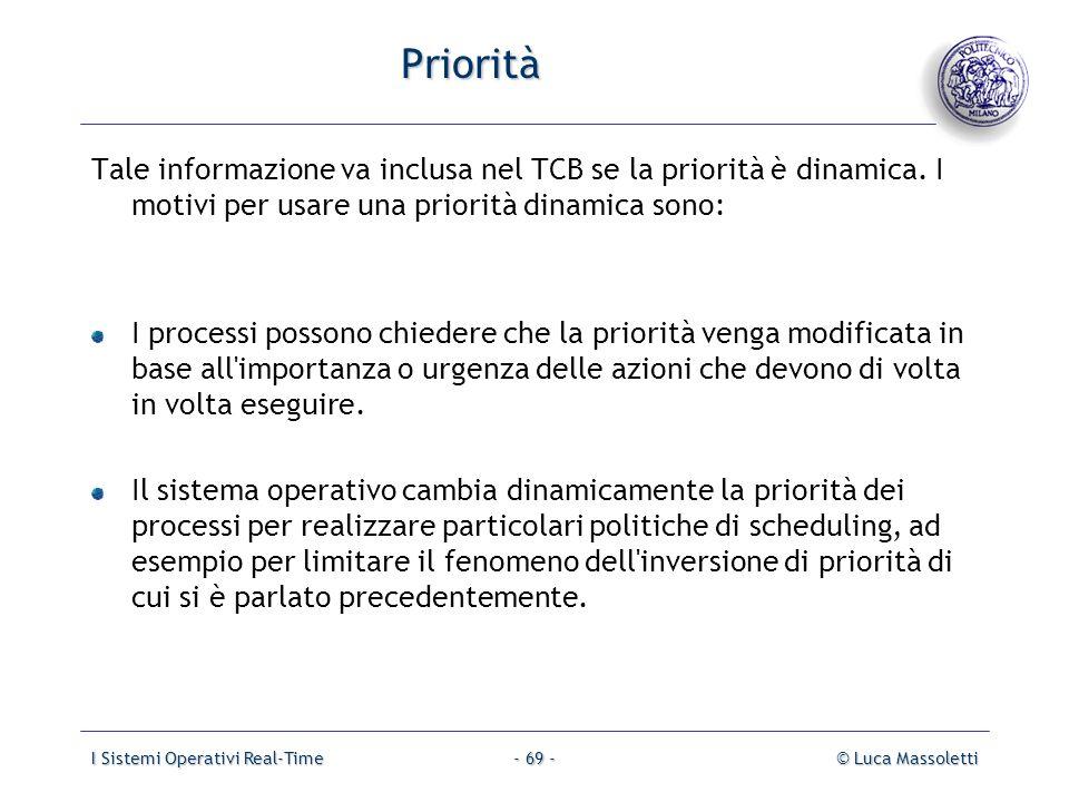 Priorità Tale informazione va inclusa nel TCB se la priorità è dinamica. I motivi per usare una priorità dinamica sono: