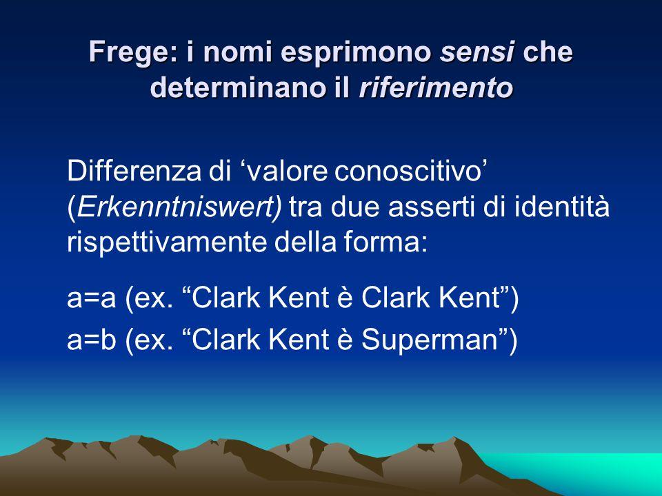 Frege: i nomi esprimono sensi che determinano il riferimento