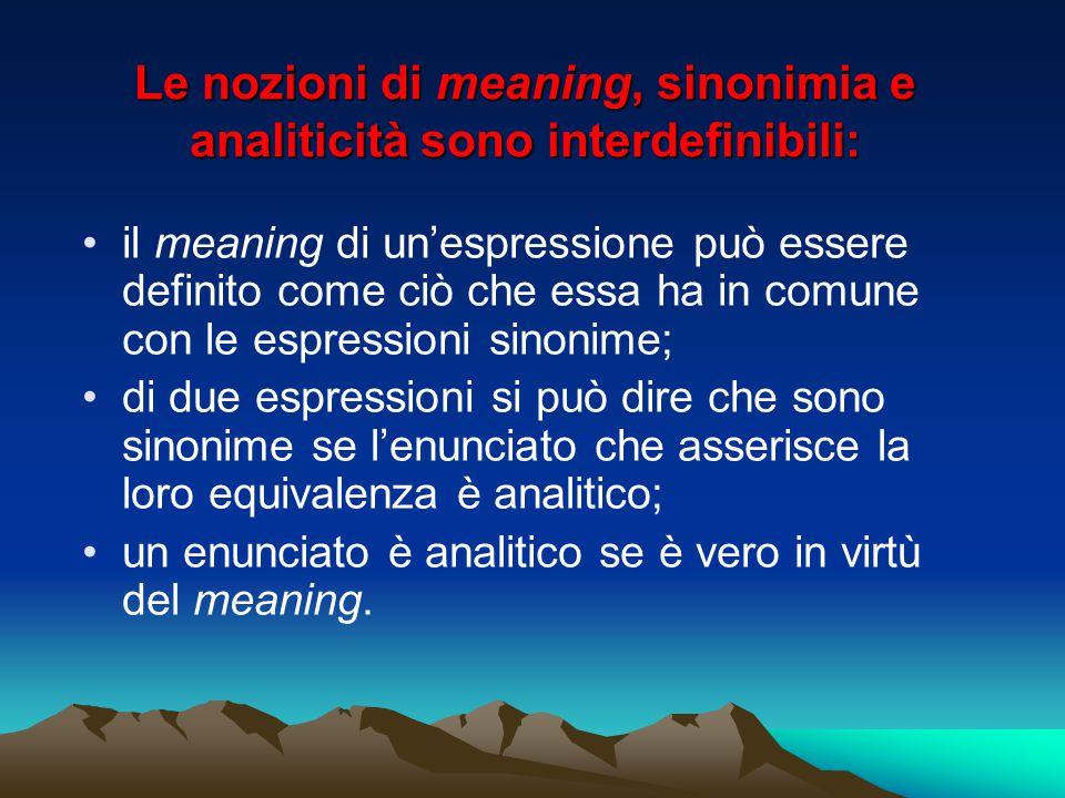 Le nozioni di meaning, sinonimia e analiticità sono interdefinibili: