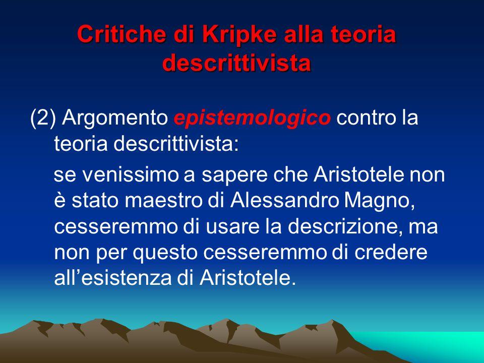 Critiche di Kripke alla teoria descrittivista