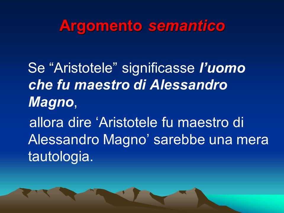 Argomento semantico Se Aristotele significasse l'uomo che fu maestro di Alessandro Magno,