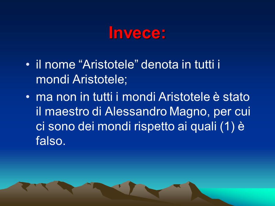 Invece: il nome Aristotele denota in tutti i mondi Aristotele;