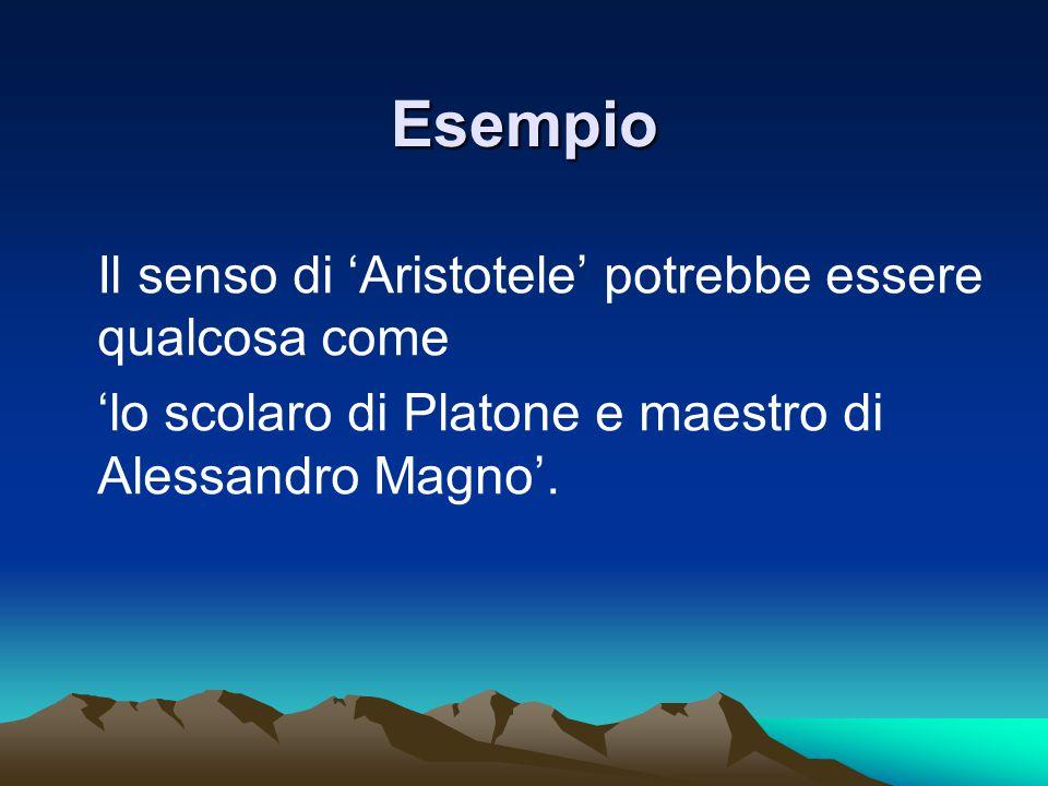 Esempio Il senso di 'Aristotele' potrebbe essere qualcosa come