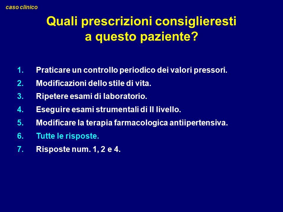 Quali prescrizioni consiglieresti a questo paziente