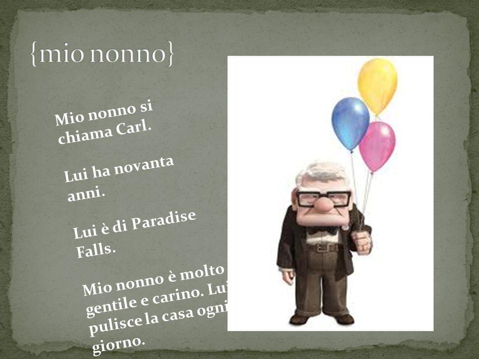 {mio nonno} Mio nonno si chiama Carl. Lui ha novanta anni.