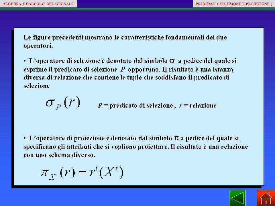 PREMESSE ( SELEZIONE E PROIEZIONE )