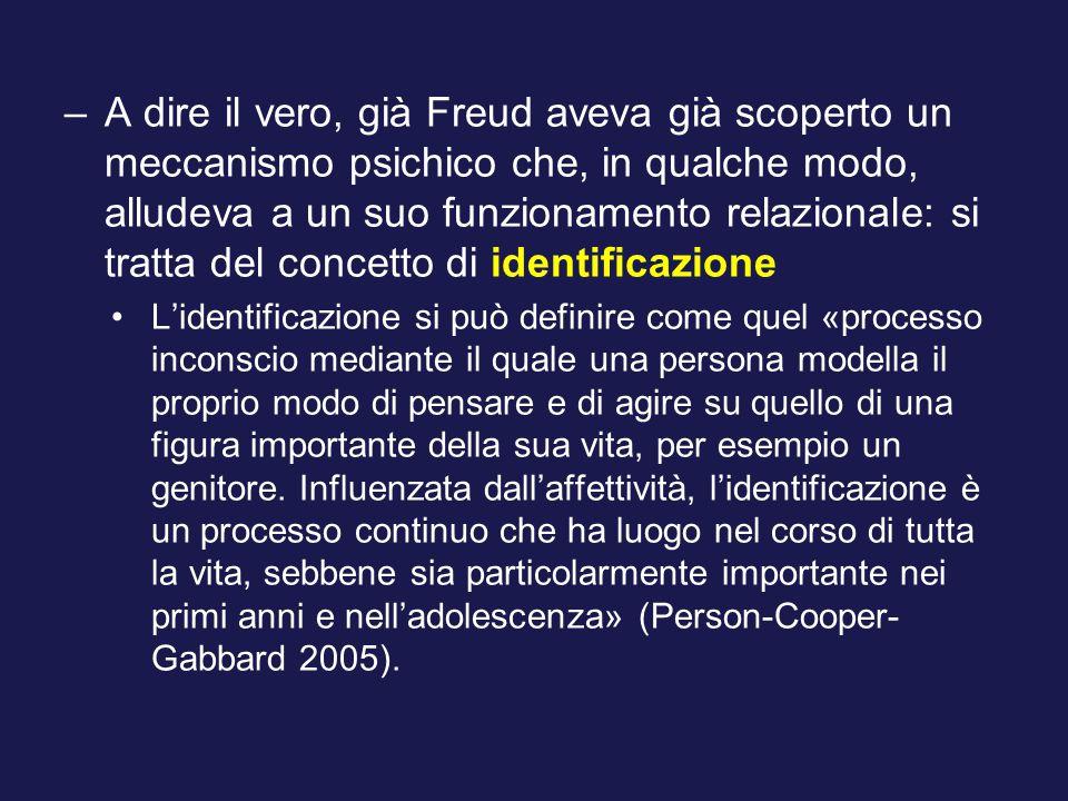 A dire il vero, già Freud aveva già scoperto un meccanismo psichico che, in qualche modo, alludeva a un suo funzionamento relazionale: si tratta del concetto di identificazione