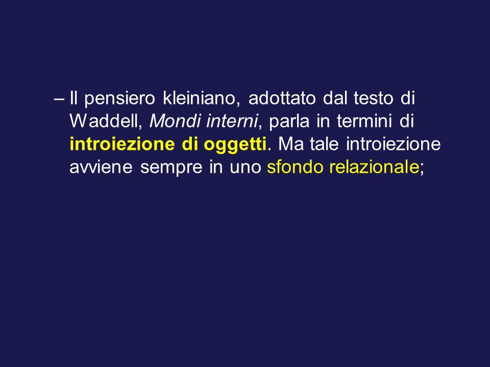 Il pensiero kleiniano, adottato dal testo di Waddell, Mondi interni, parla in termini di introiezione di oggetti.