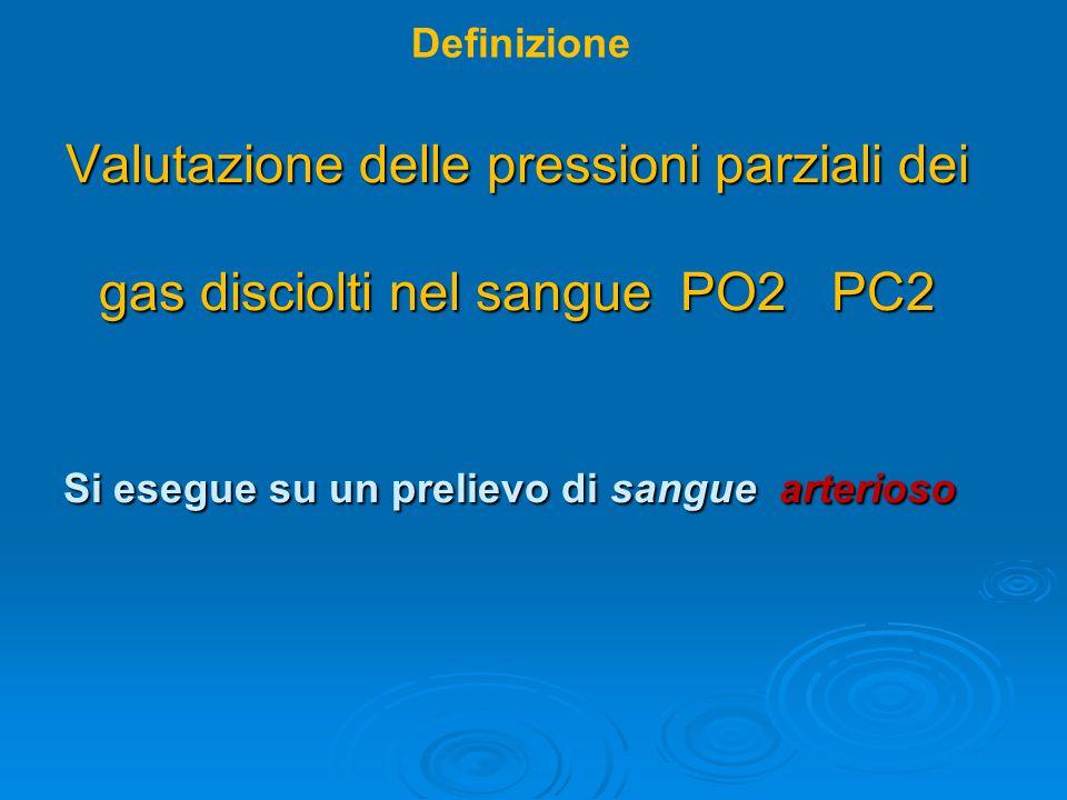 Definizione Valutazione delle pressioni parziali dei gas disciolti nel sangue PO2 PC2 Si esegue su un prelievo di sangue arterioso