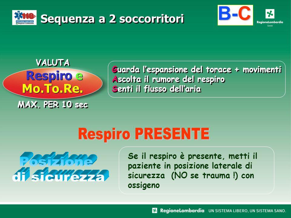B-C Respiro e Mo.To.Re. Respiro PRESENTE Posizione di sicurezza VALUTA