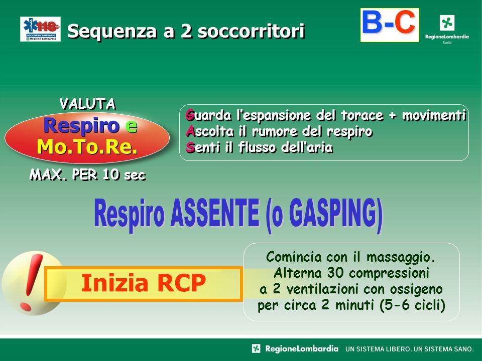 B-C Inizia RCP Respiro e Mo.To.Re. Respiro ASSENTE (o GASPING) VALUTA