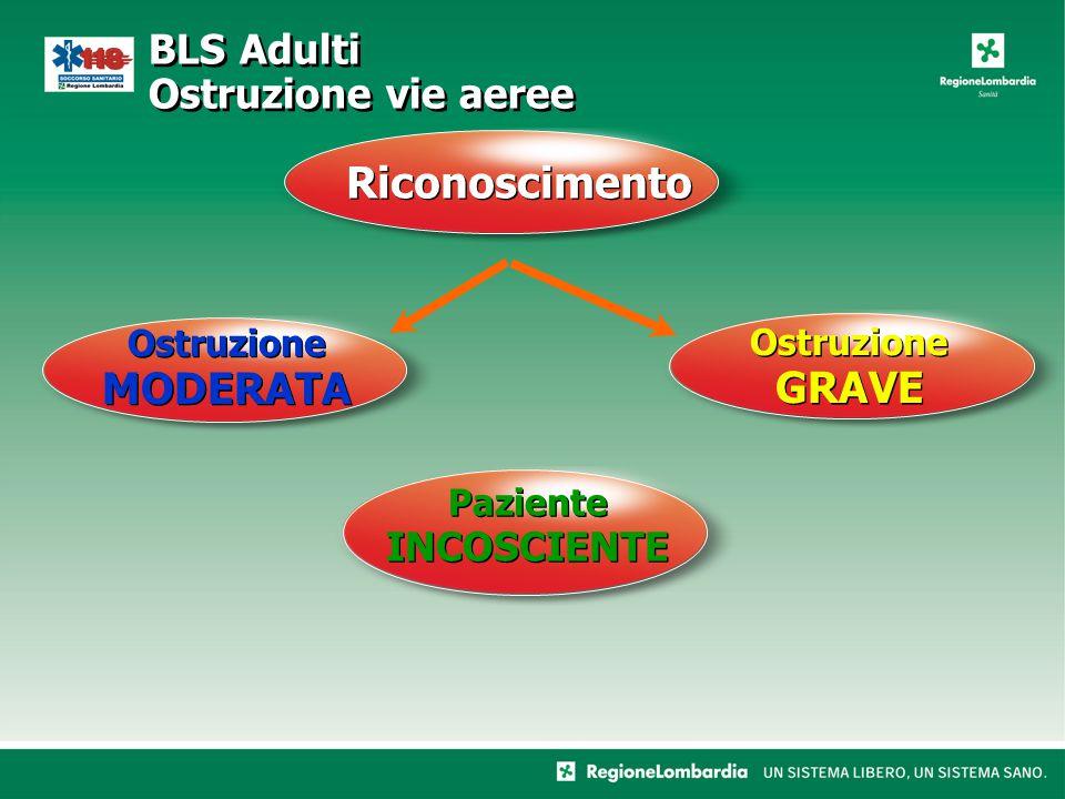 Riconoscimento BLS Adulti Ostruzione vie aeree Ostruzione MODERATA