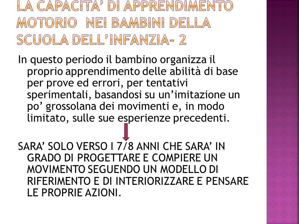 LA CAPACITA' DI APPRENDIMENTO MOTORIO NEI BAMBINI DELLA SCUOLA DELL'INFANZIA- 2