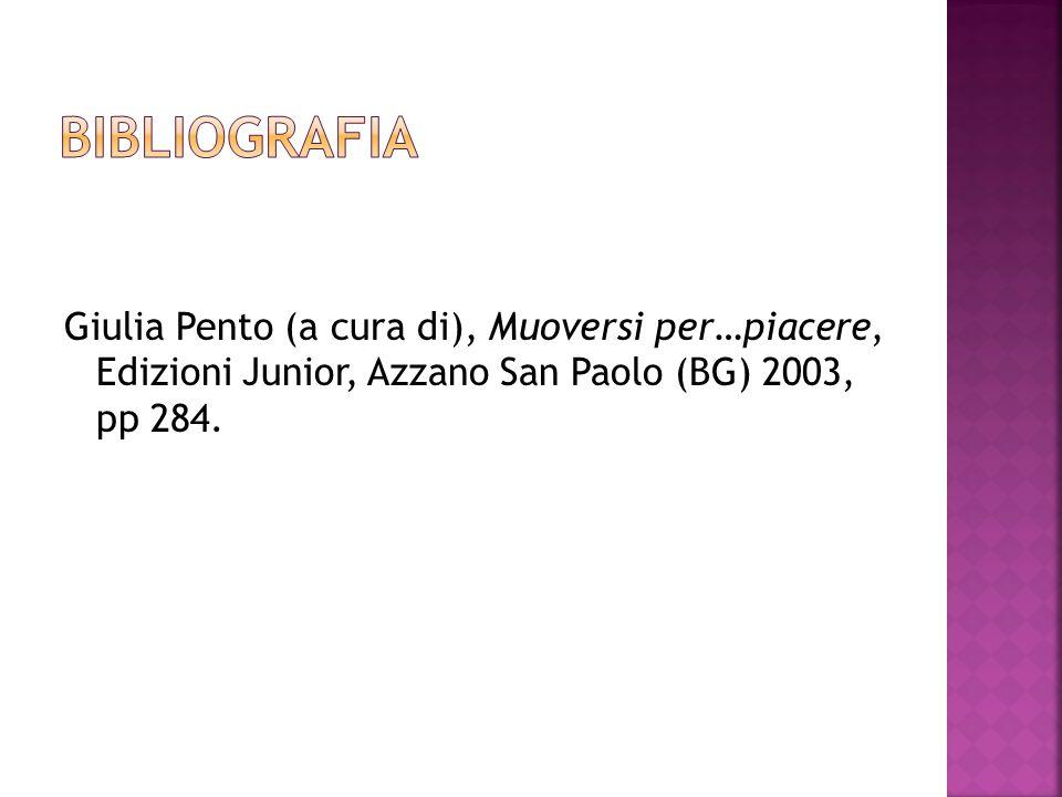 bibliografia Giulia Pento (a cura di), Muoversi per…piacere, Edizioni Junior, Azzano San Paolo (BG) 2003, pp 284.