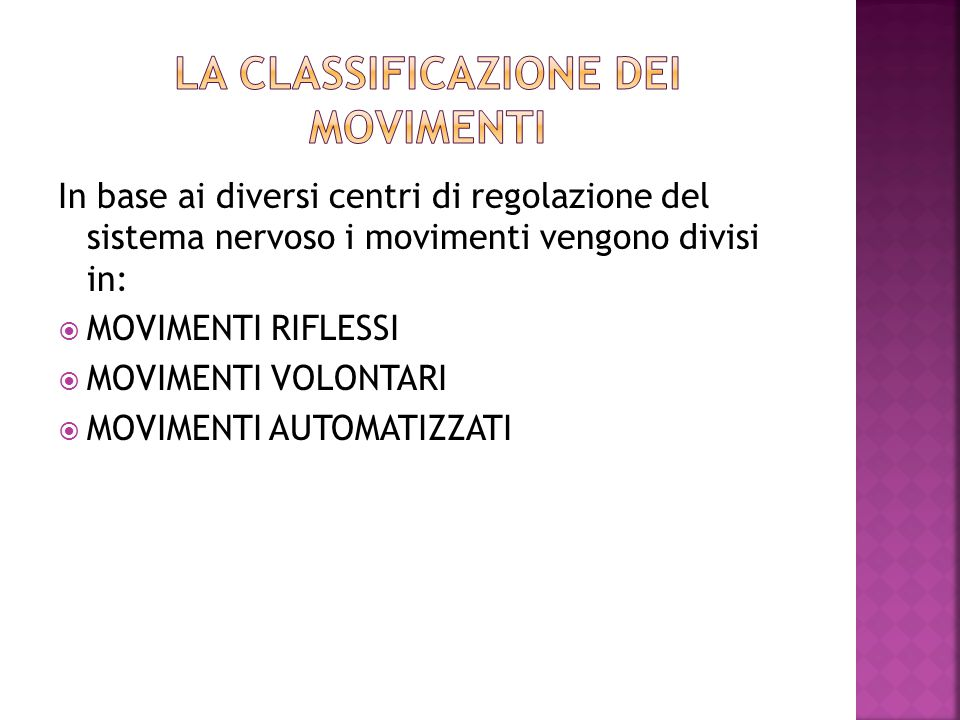 LA CLASSIFICAZIONE DEI MOVIMENTI