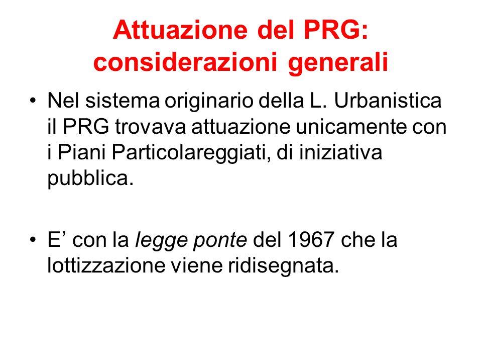 Attuazione del PRG: considerazioni generali