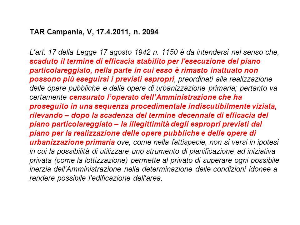 TAR Campania, V, 17.4.2011, n. 2094