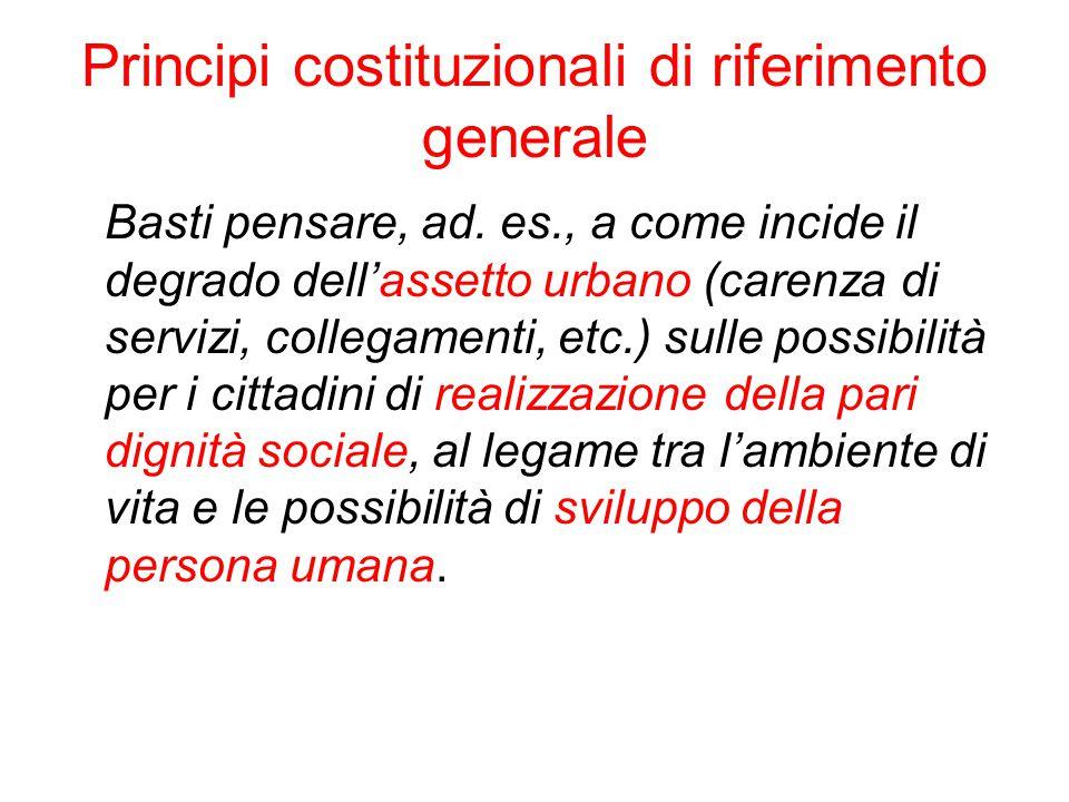 Principi costituzionali di riferimento generale